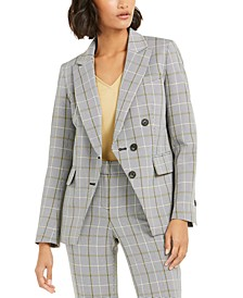 Faux-Double-Breasted Plaid Blazer, Created For Macy's