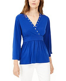 Embellished V-Neck Top, Regular & Petite
