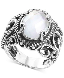 Mother-of-Pearl Quartz Doublet Statement Ring in Sterling Silver