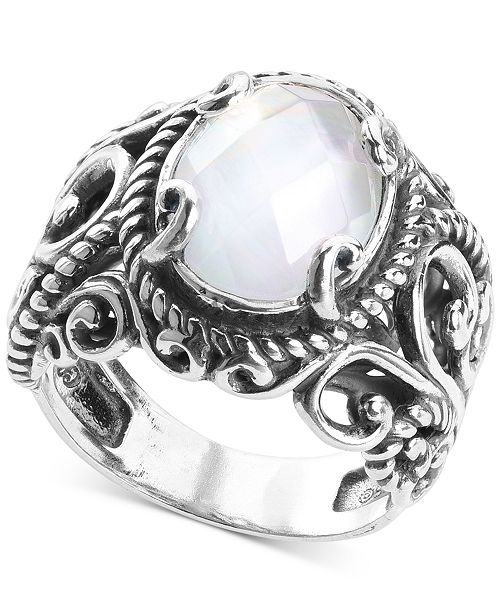 Carolyn Pollack Mother-of-Pearl Quartz Doublet Statement Ring in Sterling Silver