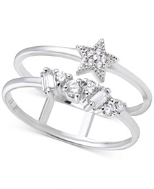 Swarovski Crystal Celestial Double Band Statement Ring in Silver-Plate