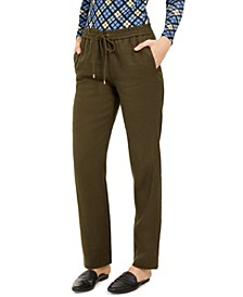 Drawstring Waist Linen Pants, Regular & Petite