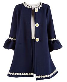 Little Girls 2-Pc. Sunflower Coat & Dress Set