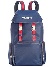 Ellie Nylon Navy Flap Backpack