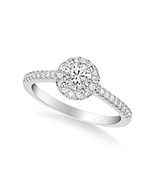 Diamond Halo Engagement Ring (3/4 ct. t.w.) in 14k White, Rose or Yellow Gold