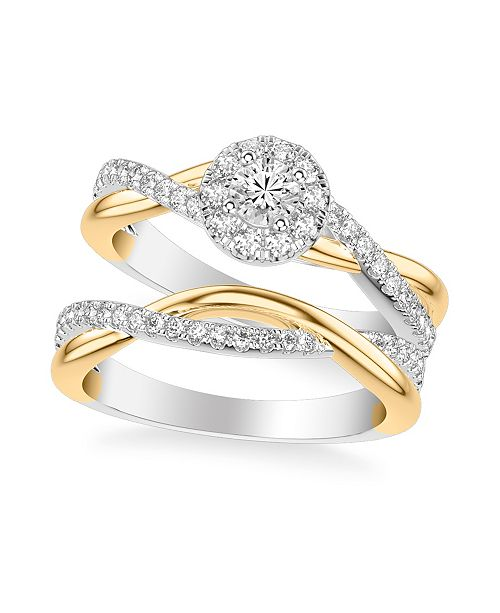 Macy's Diamond Halo Bridal Set (7/8 ct. t.w.) in 14k Two Tone White & Yellow Gold or White & Rose Gold