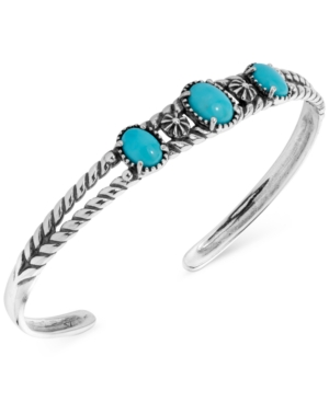 Turquoise Openwork Cuff Bracelet in Sterling Silver