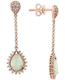 EFFY® Opal (7/8 ct. t.w.) & Diamond (1/3 ct. t.w.) Drop Earrings in 14k Rose Gold