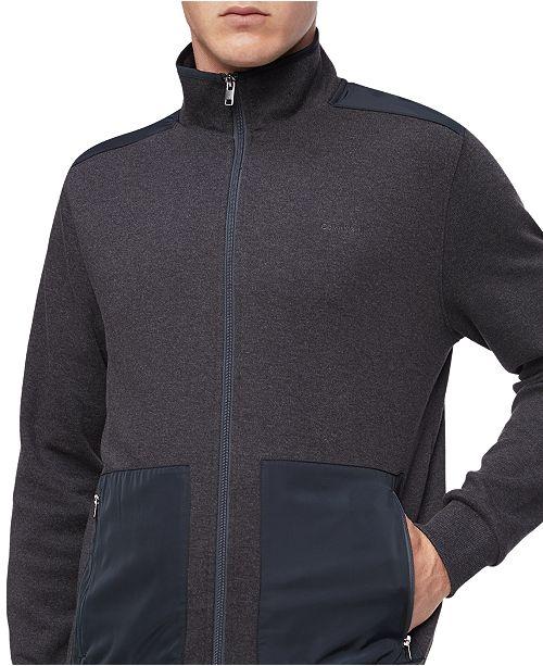 Calvin Klein Men's Regular-Fit Mix-Media Full-Zip Sweatshirt