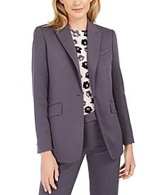 One-Button Blazer, Floral-Print Top & Straight-Leg Pants