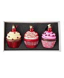 Noble Gems™ Cupcake Glass Ornament Set, 3-Piece Box Set