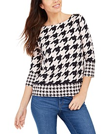Petite Button-Shoulder Houndstooth Top, Created for Macy's