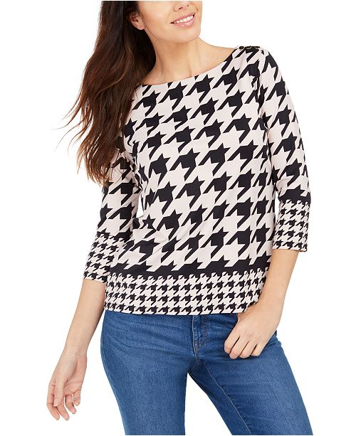 Charter Club Petite Button-Shoulder Houndstooth Top, Created for Macy's