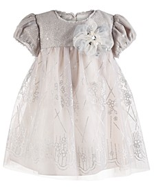 Baby Girls Sequin Floral-Print Dress
