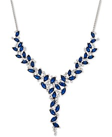 "Sapphire (11-1/8 ct. t.w.) & Diamond (1/2 ct. t.w.) 16"" Statement Necklace in 14k White Gold"