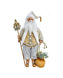 18-Inch Kringle Klaus White and Gold Santa