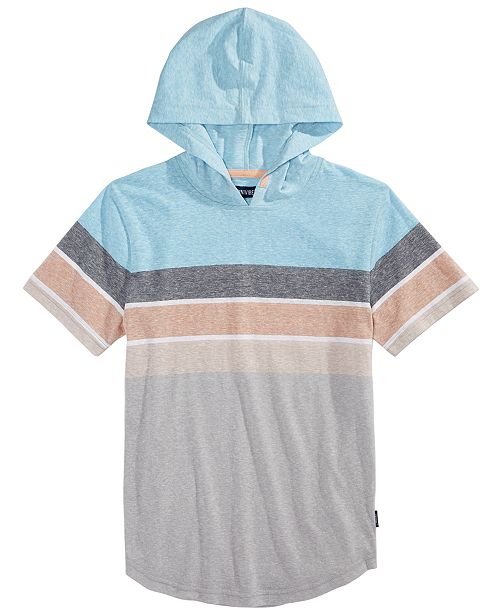 Univibe Big Boys Harold Colorblocked Stripe Hooded T-Shirt