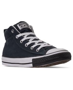 Converse Sneakers MEN'S CHUCK TAYLOR STREET MID BLACK TOE CASUAL SNEAKERS FROM FINISH LINE
