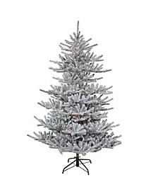 7-Foot Pre-Lit Flocked Pine Tree