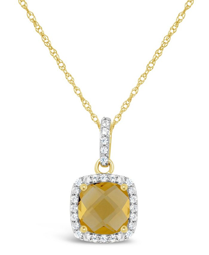 Macy's - Citrine (1-1/3 ct. t.w.) and Created White Sapphire (1/6 ct. t.w.) Pendant Necklace in 10k Yellow Gold