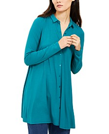 Point-Collar Button-Up Tunic, Created For Macy's