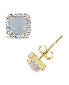 Halo Stud Earrings in 10k Yellow. Created Blue Sapphire (1-3/8 ct. t.w.) and Created Opal (1/2 ct. t.w.)