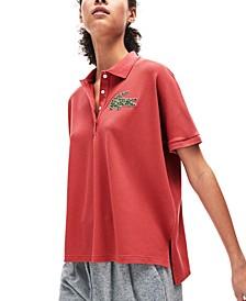 Women's Short Sleeve Relaxed Fit Interlocked Croc Polo Shirt