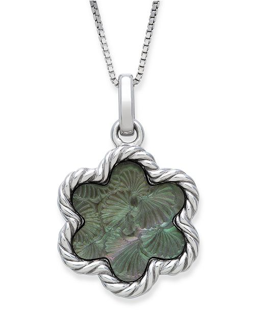 "Macy's Engraved Black Mother of Pearl 13mm Flower Pendant with 18"" Chain in Sterling Silver"