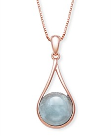 """Milky Aquamarine 11x5.3mm Pendant with 18"""" Chain in Rose Gold over Silver"""