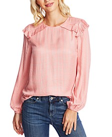 Gingham Ruffled-Shoulder Top