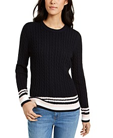 Cotton Tipped Cable-Knit Sweater