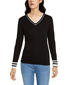 Cotton Tipped V-Neck Sweater