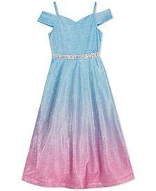 Toddler Girls Glitter Mesh Cold-Shoulder Dress
