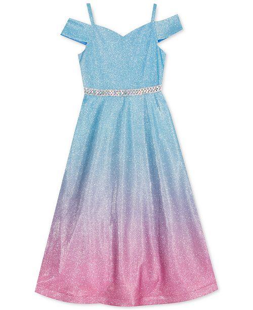 Rare Editions Little Girls Glitter Mesh Cold-Shoulder Dress