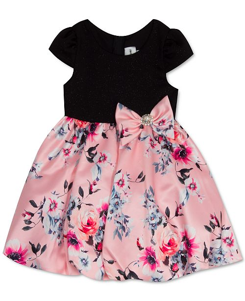 Rare Editions Toddler Girls Glitter Floral-Print Bubble Dress