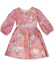 Toddler Girls Burnout Organza Puff-Sleeve Dress