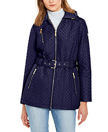 Michael Michael Kors Quilted Hooded Belted Jacket