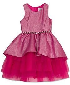Little Girls Metallic Peplum Dress