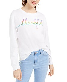 Juniors' Thankful Long-Sleeve Cotton T-Shirt