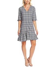 Plaid V-Neck Flounce Dress