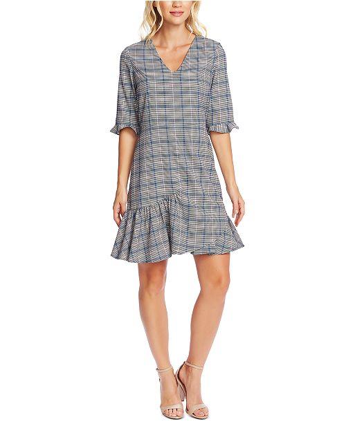 CeCe Plaid V-Neck Flounce Dress