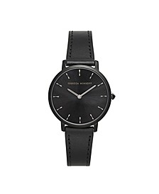 Womens Major Black Leather Strap Watch 35MM