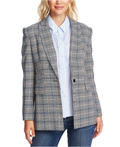 CeCe Windsor-Check One-Button Blazer