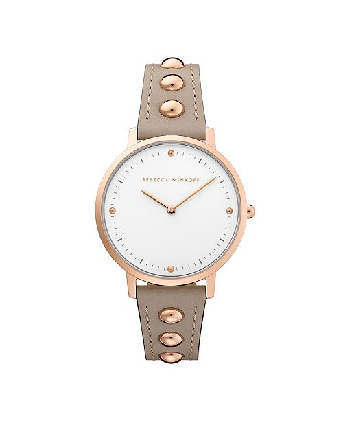 Rebecca Minkoff Womens Major Grey Studded Leather Strap Watch 35MM