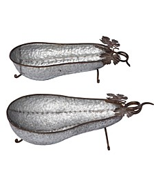Metal Silver Harvest Gourd Container - Set of 2
