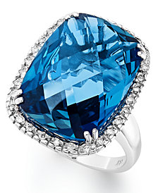 14k White Gold Ring, London Blue Topaz (15 ct. t.w.) and Diamond (1/5 ct. t.w.) Rectangle Ring
