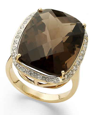 14k Gold Ring, Smokey Topaz (20 ct. t.w.) and Diamond (1/5 ct. t.w.) Large Rectangle Cushion Cut Ring