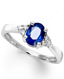 Sapphire (9/10 ct. t.w.) and Diamond Accent Ring in 14k White Gold