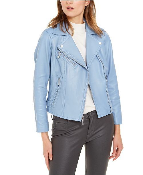 Michael Kors Leather Side-Strap Moto Jacket