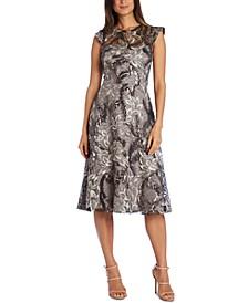 Embellished Lace A-Line Midi Dress